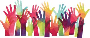 many hands raising up
